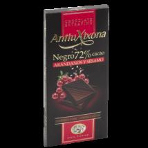 Antiu Xixona 72%-os gluténmentes étcsokoládé áfonyával és szezámmaggal, 100g