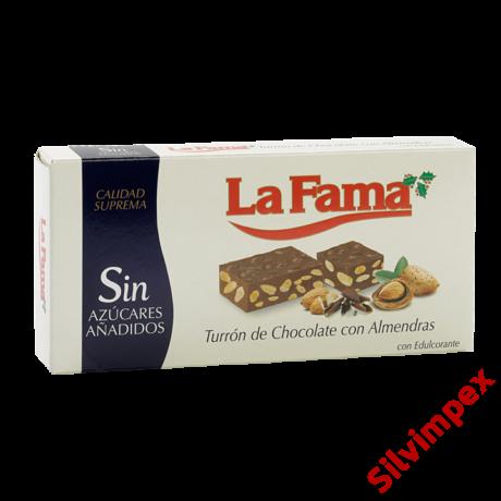 La Fama Turrón de Chocolate con Almendras, 200g