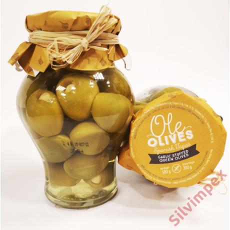 Fokhagymával töltött zöld olívabogyó, 580g/300g